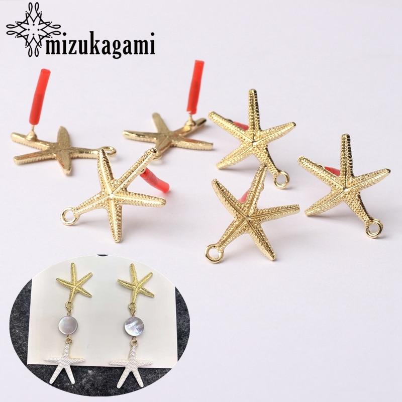 Zinc Alloy Stud Earrings Golden Conch Starfish Earrings Connector 20mm 6pcs/lot For DIY Drop Earrings Jewelry Making Accessories