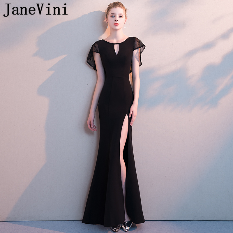 JaneVini 2018 Simple Black Long   Bridesmaid     Dresses   for Women Satin O-Neck Zipper Back High Split Floor Length Mermaid Prom Gowns