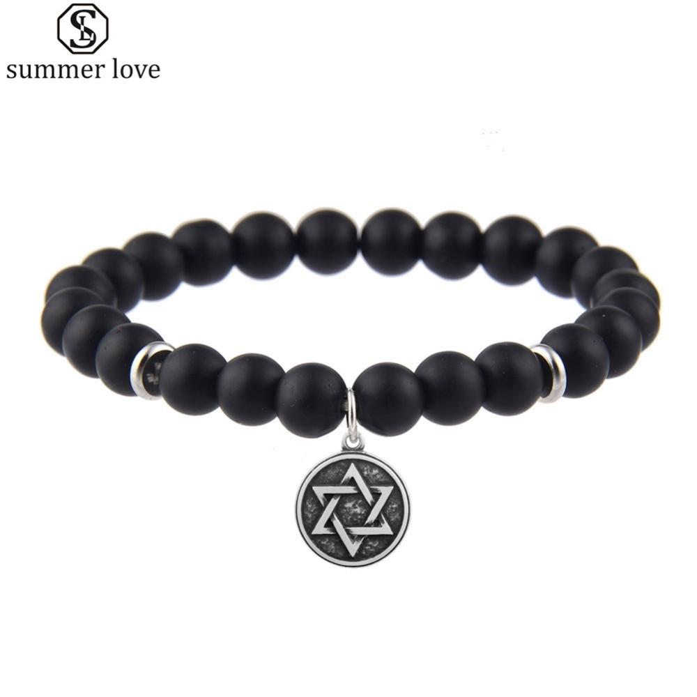 Steel Coexist World Peace Sign Star of David Charm Men Bracelet 8mm Agates Beaded Bracelet Lucky Stretchable Handmade