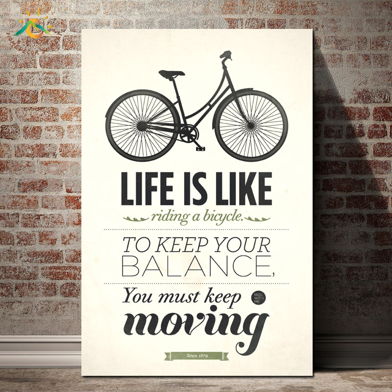 Modern Bicycle Keep Moving Wall Art Print Pop Posters and Prints Scroll Canvas Painting Pictures for Living Room
