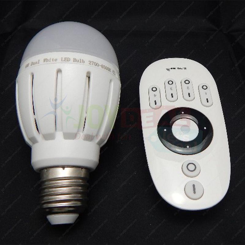 4x E27 6W Dual White WW/CW Color Temperature Adjustable LED Bulb(Plastic) + 1x 2.4G 4-zone Wireless Remote Color Temp Controller cw srver cs 1 6