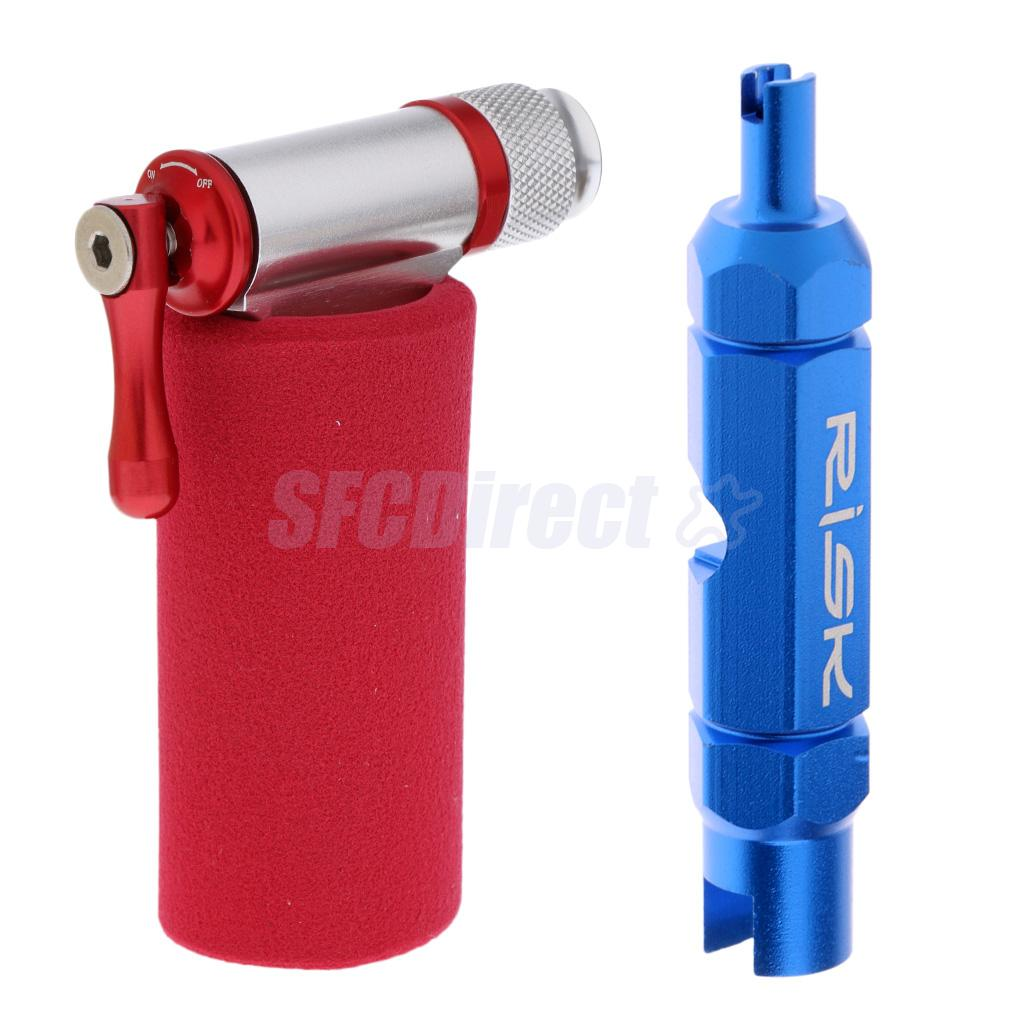 Valve Core Extractor Remover Tool for Presta / Schrader Tube + Bike Bicycle Air Pump CO2 Inflator with Sleeve No Cartridges