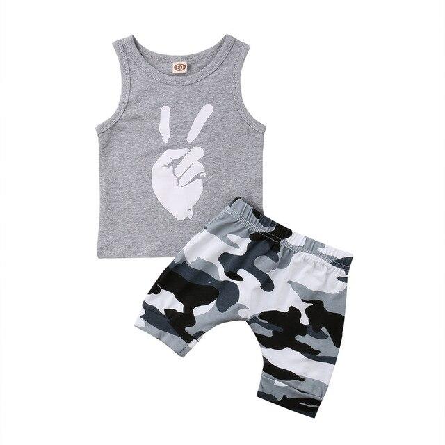 f2e752b46 Toddler Kids Camo Clothing Baby Boys Tops T-shirt Short Pants 2Pcs Outfits  Set Clothes