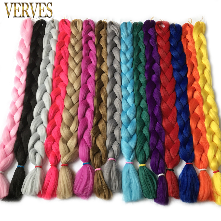 VERVES довгий 82 дюймів, 165 г / шт синтетичні плетення волосся Kanekalon волокно нарощування волосся безкоштовна доставка гачком волосся косу чистий колір