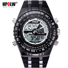 af15cd59d1a Homens Digital LED relógio de Quartzo HPOLW Moda Esportes Ao Ar Livre Relógios  Eletrônicos Watwrproof Homem
