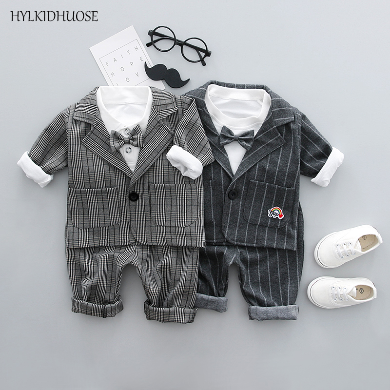 HYLKIDHUOSE Spring Baby Boys Clothes Sets Gentleman Style Stripe Infant Coats+T Shirt+Pants High Quality Children Kids Suits