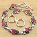 Bracelet 7 5/8 Inches ! Red rubi Gem Fashion Jewelry !  Silver Plated