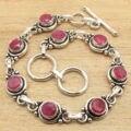 Pulseira 7 5/8 Centímetros! vermelho rubi Gem Jóias Da Moda! prata Banhado