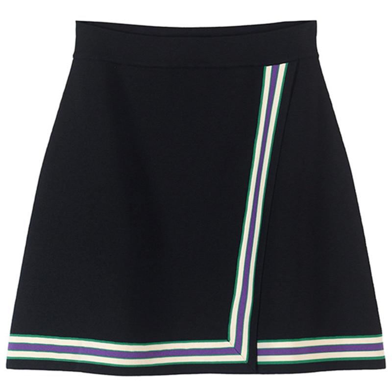 Rétro rayé Mini jupe Femme été femmes jupe fendu tricot jupe piste bas taille haute