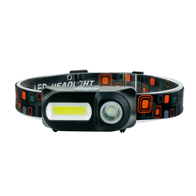 Head Lantern Flashlight Usb-Headtorch 18650 Led Battery Waterproof Mini COB with 3-Modes