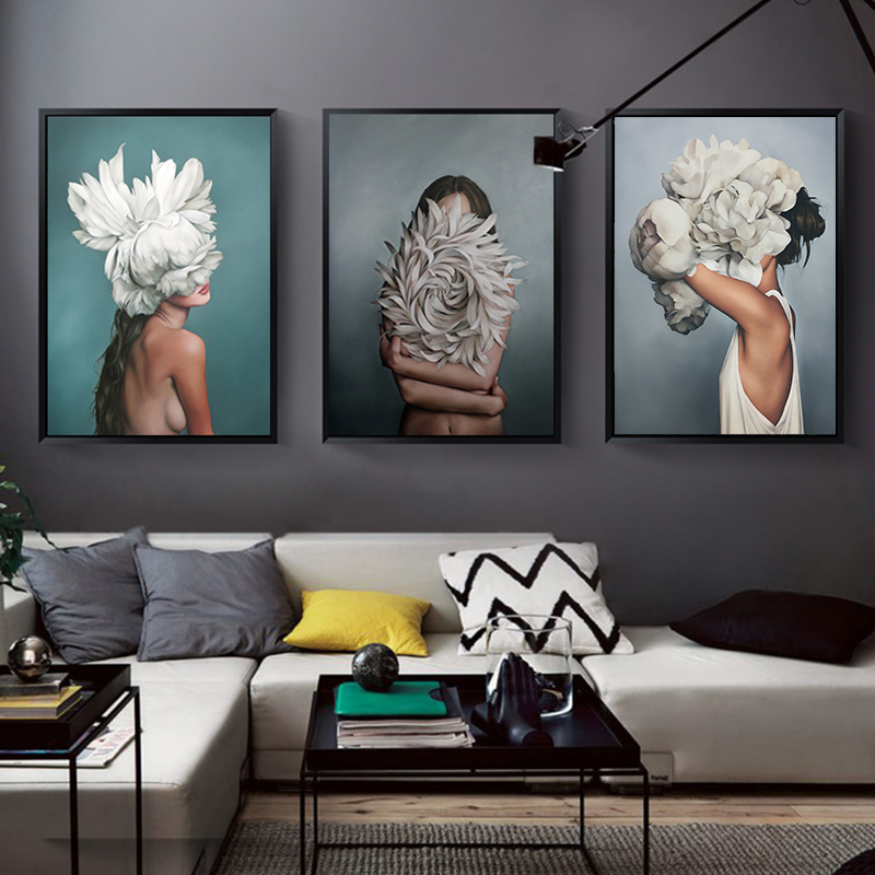 Abstract Flower Avatar Girl Canvas Painting Wall Painting Print Poster Wall Art Bedroom Living Room Modern Home Decoration