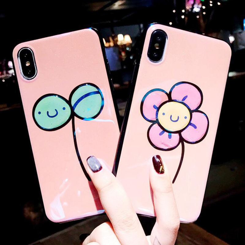 New 2018 Girls Flash Flower Phone Case for iPhone7plus Epoxy Soft Back Cover for 6s 6plus Mirror Shell