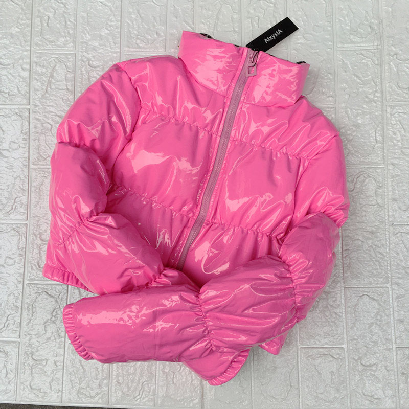 Cropped Down   Parka   Puffle Jacket Bubble Coat Winter 2018 Women New Fashion Short Clothing Hot Pink