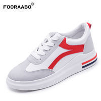 Fooraabo Spring Women S Shoes Sneakers Leather Flat Shoes Lace Up Women Platform White Casual Shoes