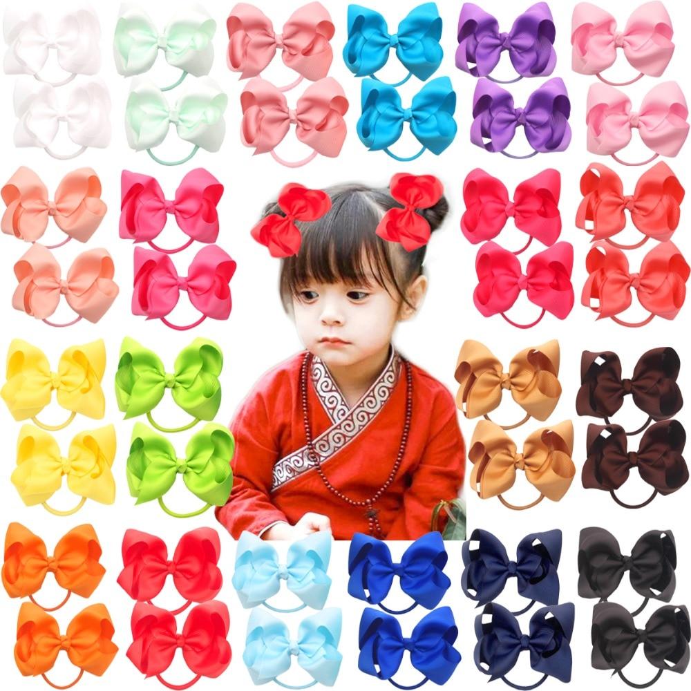 40 Stücke 20 Pairs 4,5 boutique Haar Bögen Krawatte Baby Mädchen Kinder Kinder Zopf Bögen Gummiband Band Haar Bands Mutter & Kinder Haar-accessoires