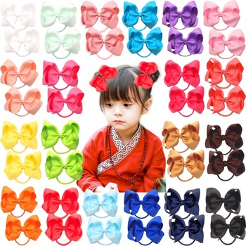 40pcs 20 Pairs 4.5 Boutique Hair Bows Tie Baby Girls Kids Children Pigtail Rubber Band Ribbon bands