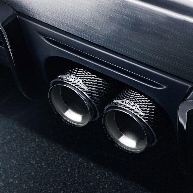 Véritable silencieux d'échappement en fibre de carbone accessoires de décoration extérieure de voiture pour BMW MINI ONE JOHN COOPER WORKS F55 F56 F60 R60