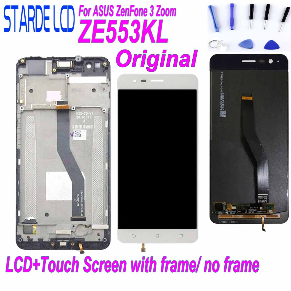 Original LCD for Asus ZenFone 3 Zoom ZE553KL ZE553 Z01HDA Display Touch Screen Digitizer Assembly with Frame and Free Tools