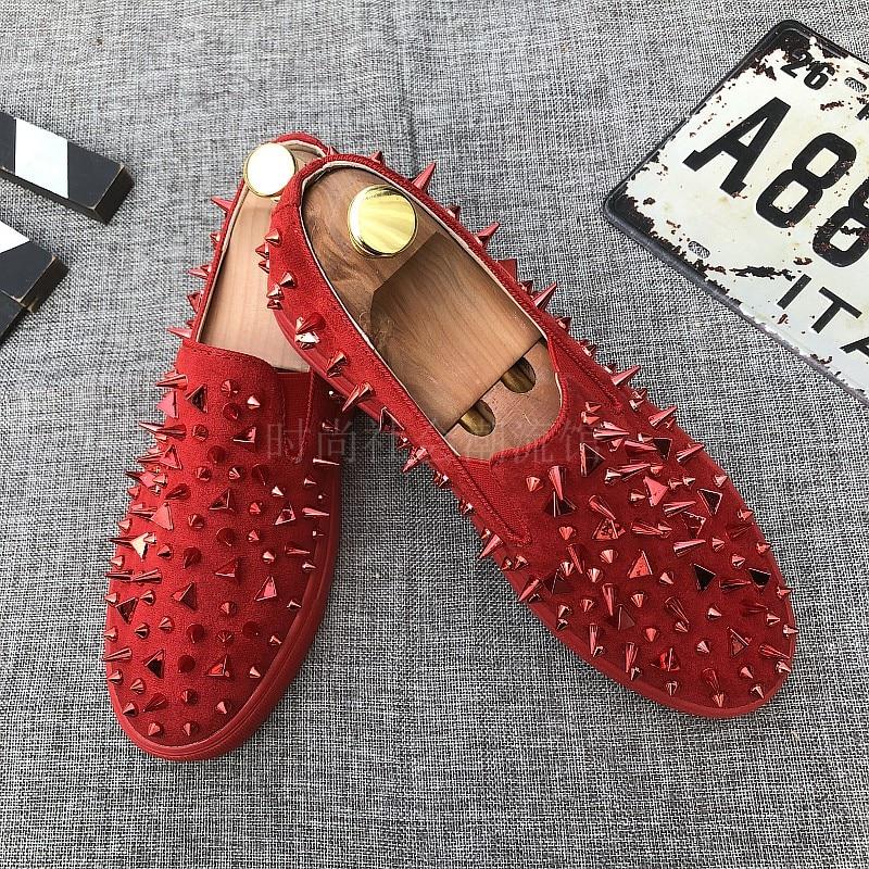 Couro Macio Nighclub Handmade Fashion 01 Vermelho Sapatos Camurça Homem Homens De Rebites 2018 02 Fundo Prom Party 46Ynq