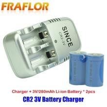 2 piezas 3,0 V CR2 de batería 3V batería Li ion recargable baterías de la Cámara + 1 pieza CR2 cargador de batería para cámara telescopio