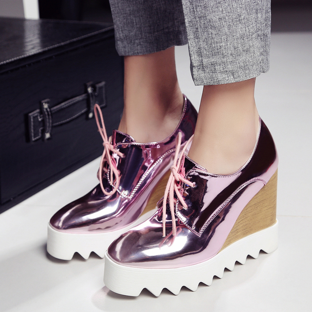 Patent Leather Oxfords Wedges Gold Silver Platform Shoes Woman Casual Creepers Pink High Heels High Quality