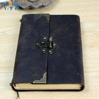 New Creative Leather Retro Vintage Lock Handwork Kraft Paper Notebooks School Students Vintage Note book For Gift N100