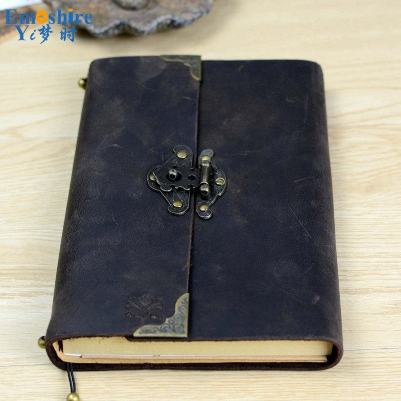 New Creative Leather Retro Vintage Lock Handwork Kraft Paper Notebooks School Students Vintage Note book For Gift N100