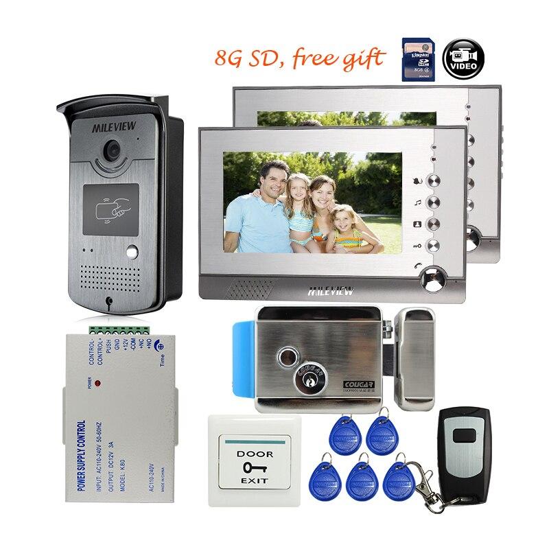 MILEVIEW 7 couleur Interphone Vidéo Porte Téléphone 2 Écran Fiche + RFID Porte D'accès Interphone Caméra 8G SD serrure Électrique Livraison gratuite