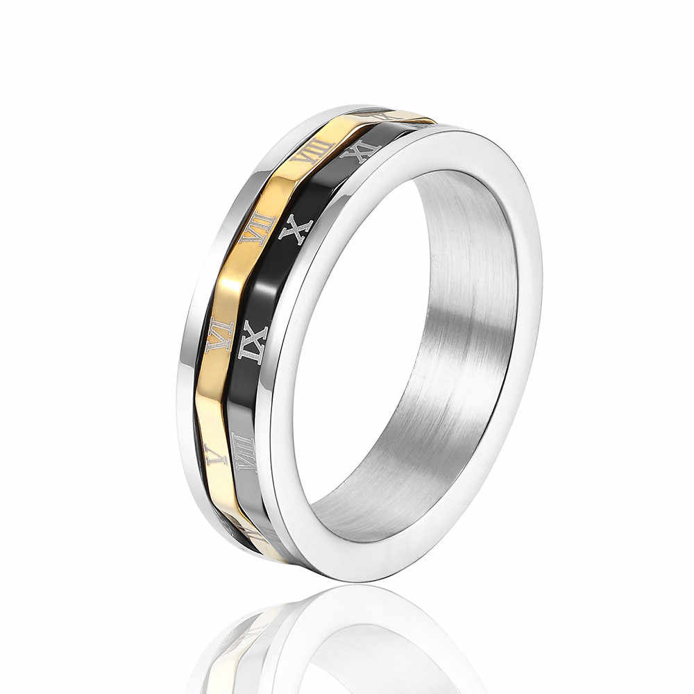 Fashion Jewelry Titanium Steel Men and Women Ring Three Colors Roman Numerals Rotating Ring Wholesale