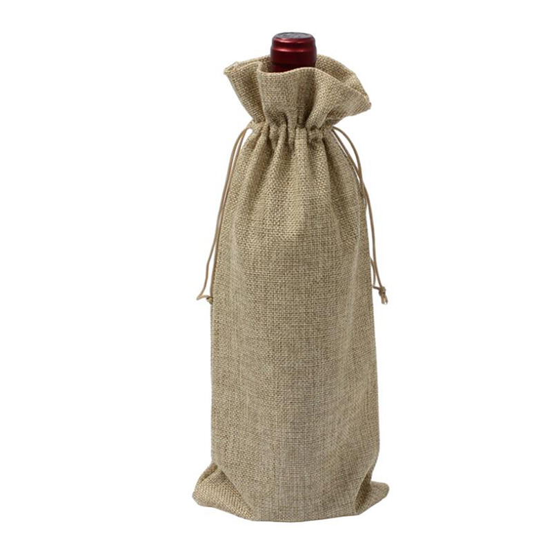 Wedding Party Decor Set Wine Bag Carrier For Gifting And Decorating Rustic Linen Drawstring Wine Bottle Cover Packaging Bag