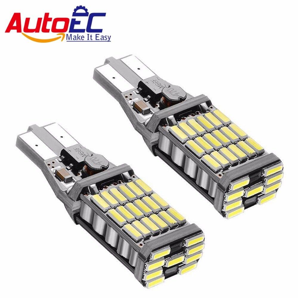 2 X T15 White W16W 45 SMD 4014 Error Free LED Car Reverse Back Light Bulbs Lamp