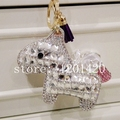 Crystal Horse Keychains Sparkly Bag Charm Bag Bug Tote Charm Handbag Charm Cute Women Car Accessories Auto Car Keys Ring