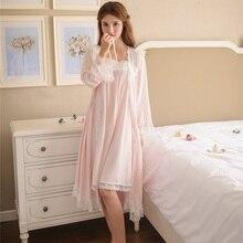 Alta qualidade das mulheres 2 peças conjuntos de roupão viscose laço branco estilo do vintage princesa algodão macio roupa de noite casa 6895