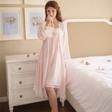 High Quality Women 2 Pieces Viscose Robe Sets White Lace Vintage Style Princess Soft Cotton Nightwear Home Clothes 6895