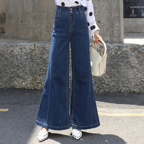 Fashion High Waist Flare Jeans Women Bell Bottom Denim Ladies Skinny Jeans Retro Female   Wide     Leg     Pants   Trousers Flare   Pants