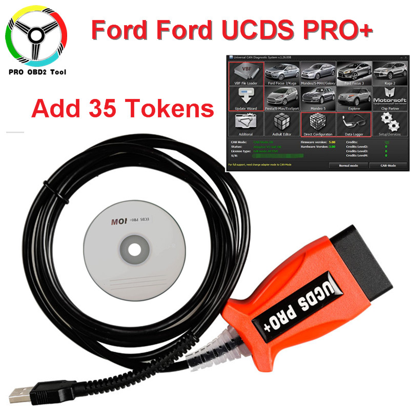Lastest V1.26.008 UCDS Pro + For Ford OBDII Diagnostic Tool Full License Software With add 35 Tokens Better Than For Ford VCMII 5 psc lot diagnostic tool connect cable adapter for tcs cdp plus pro obd2 obdii truck full 8 trucks cables for cdp by dhl free