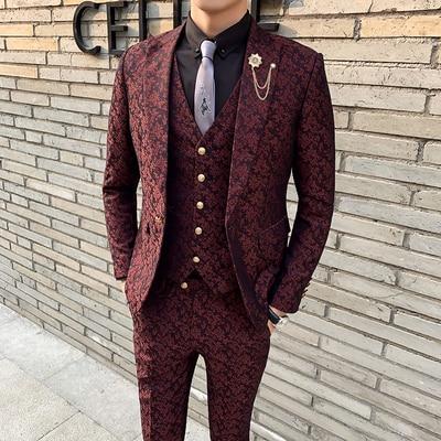 3 Pieces Mens Suit With Pants Teros Wedding Prom Suits For Men Red Blue Floral Jacquard Slim Fit Tuxedo 2019 Garnitur Meski