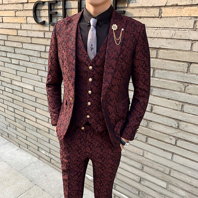 Wedding Prom Suits For Men 3 Pieces Costume Homme Mens Suit With Pants Wine Red Floral Jacquard Slim Fit Tuxedo Garnitur Meski