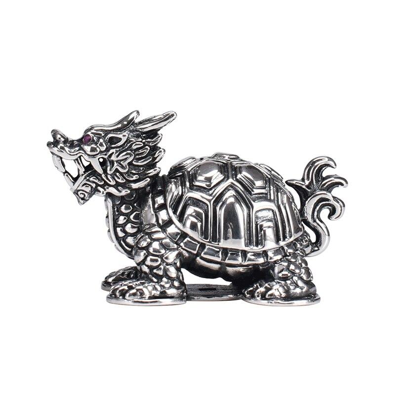 Pure Silver Dragon Turtle Tea Pet Ornaments Creative Ancient God Beast Lucky Turtle Tea Pet   Personality Tea Table Ornaments