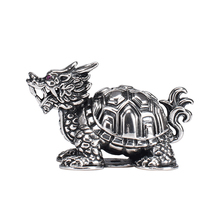 Pure silver dragon turtle tea pet ornaments creative ancient god beast lucky  personality table