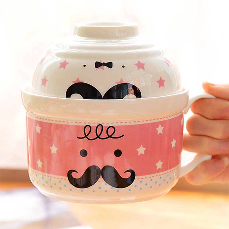 Large Size Cute Cartoon Bowl Set of Instant Noodles Ceramic Bowl With Lids, Bowls-002 ...