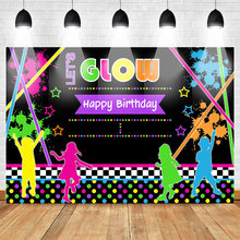 Let's Glow Birthday Backdrop Neon Birthday Party Background Dance Party Slime Party Photo Backdrops Birthday Party Decorations(China)
