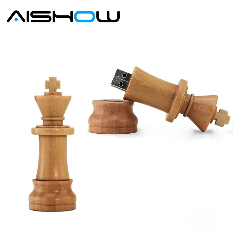 Usb Flash Drive Wood Chess USB 2.0 usb flash drives 4GB 8GB 16GB 32GB 64GB international chess pendrive usb memory stick