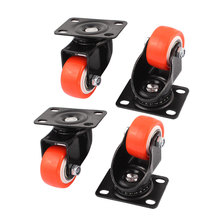 UXCELL 4Pcs 1.5″ Round Wheel Rectangle Top Plate 360 Degree Rotation Swivel Brake Caster
