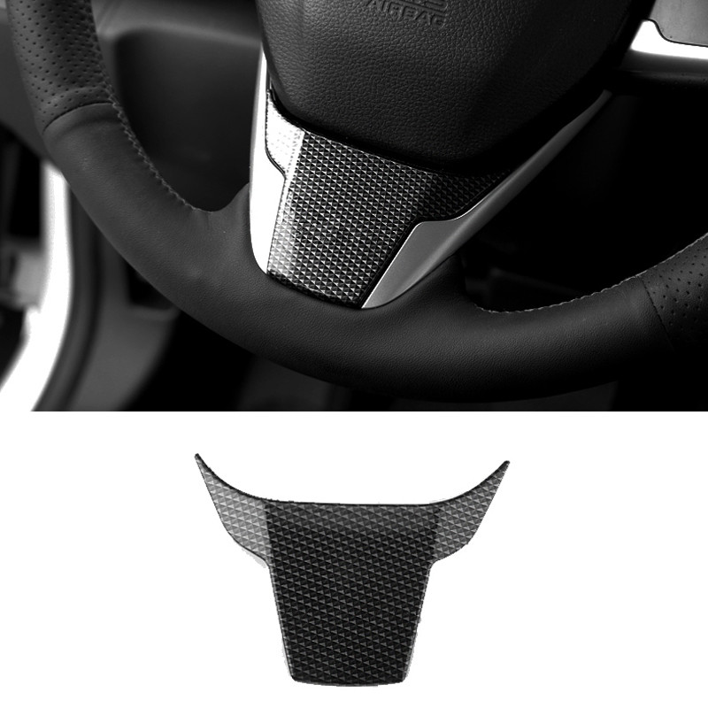 Carbon Fiber Car Styling Steering Wheel Steering-Wheel Cover 3D Car Sticker Trim For Honda Civic 10th 2016 2017 2018 Accessories airspeed carbon fiber steering wheel emblem for ford mustang car stickers car styling 2015 2016 2017 auto accessories