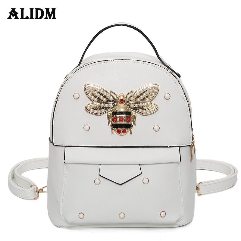 Brand Bee Pu Leather Backpack Women Rivet Backpacks For Girls School Bags Travel Backpack Women Bag Female Mochila Fashion 2018 nigedu women backpacks soft leather shoulder bag women s backpack school bags for teenagers girls mochila female travel bags
