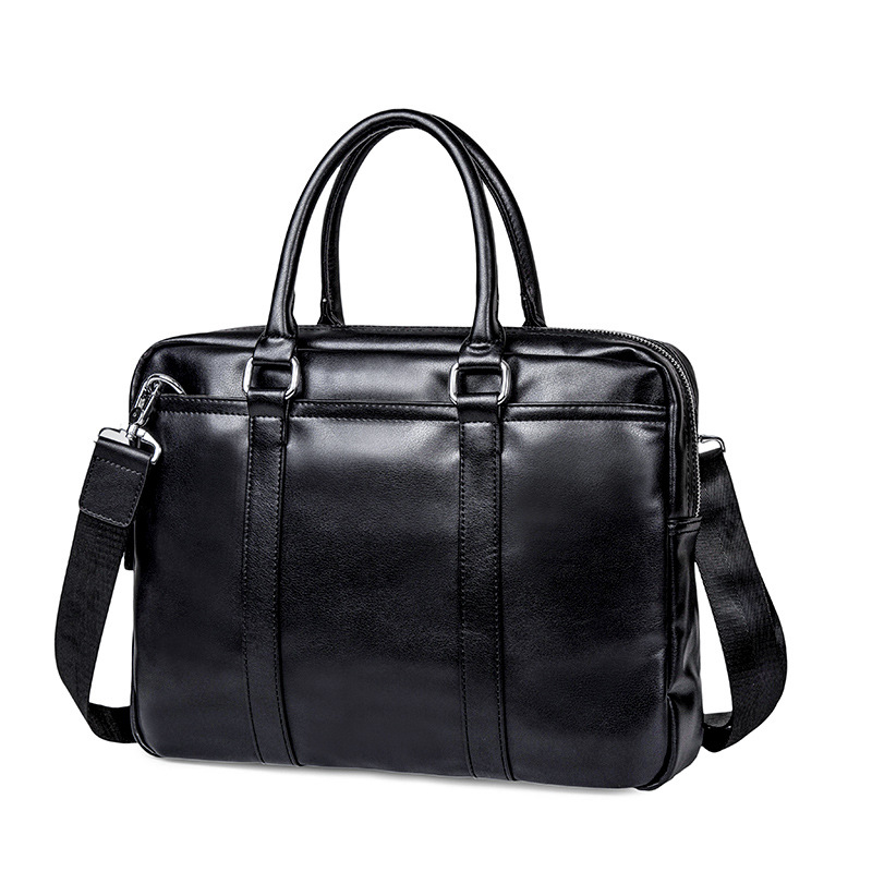 2019 Brand Leather Men Briefcase Business Handbag Office Computer Laptop Bag Casual Black Shoulder Bags For Men Tote