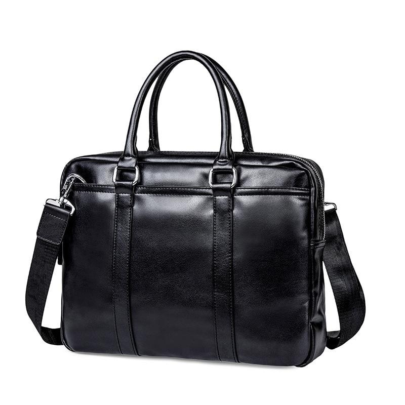 2019 Brand Leather Men Briefcase Business Handbag Office Computer Laptop Bag Casual Black Shoulder Bags For Men Tote