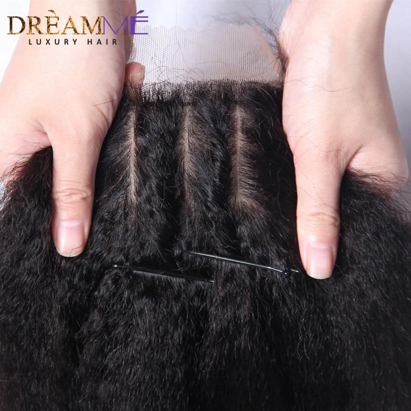 Dreamme Cheveux Crépus Droit Remy Brésilien Cheveux Humains Soie - Cheveux humains (noir) - Photo 4
