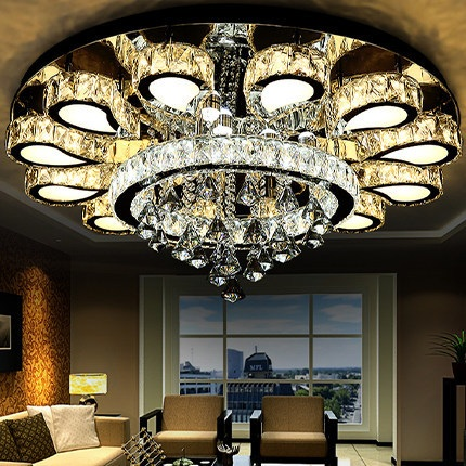 Modern Round Crystal LED Ceiling Light Romantic Art Crystal Home and Commercial Lighting Ceiling lamp 110-240V